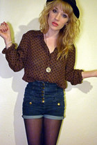black bowler H&M hat - navy Topshop shorts - gold clock pendant thrifted necklac