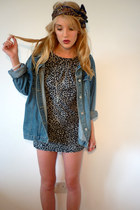 dark gray Miss Selfridge dress - blue oversized denim vintage jacket