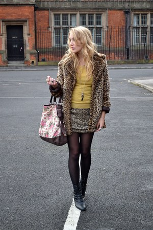 brown new look coat - black vintage from Ebay boots - gold AXPAris dress