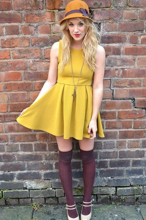 mustard felt hat H&amp;M hat - mustard skater dress Ebay dress