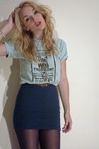 blue H&M skirt - blue thrifted t-shirt - gold Primark necklace - silver thrifted