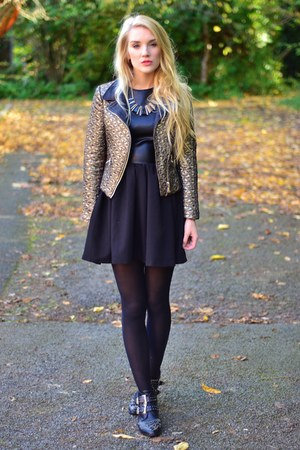 gold biker Fashion Union jacket - studded boots linzi boots - Hedonia dress