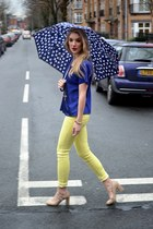 light yellow Pop Couture jeans - blue vintage top - neutral new look heels