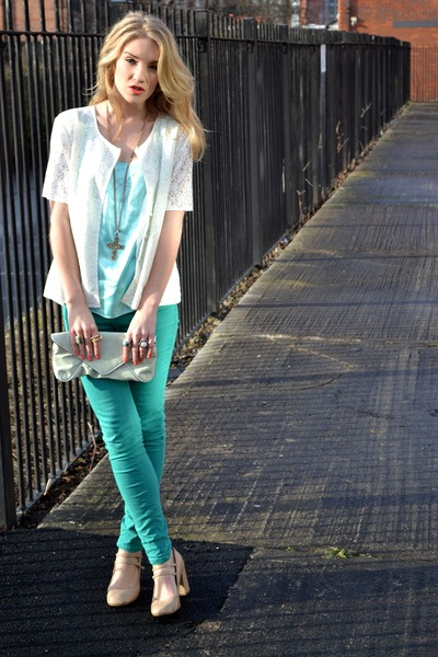 cream vintage jacket - teal Republic jeans - aquamarine clutch bag Topshop bag