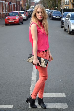 hot pink TFNC blouse - black Fashion Union boots - salmon Fashion Union jeans