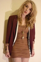 maroon thrifted vintage blazer - tawny Topshop dress - cream Primark tights - na