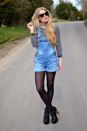 blue denim dungarees Mary Jane Fashion shorts - navy breton stripe new look top