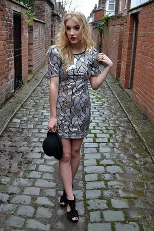silver Fast Fashion dress - black bowler hat H&M hat