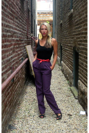 deep purple high waisted vintage pants - black H&M top