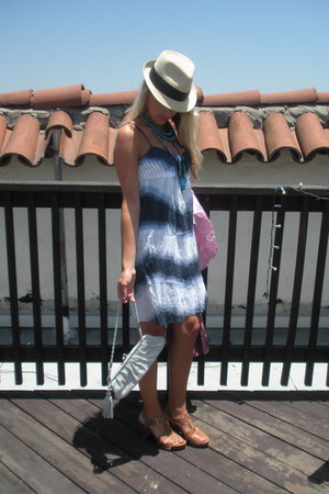 tie dye Calyspo St Barth dress - umbre Ginger Couture scarf - tan leather franco