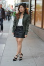 Army-green-members-only-jacket-black-forever-21-skirt-ivory-forever-21-top