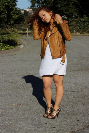 leather jacket Zara jacket - tank dress Guess dress