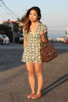 green Topshop dress - dark brown gusset satchel asos bag - brown Aldo sandals