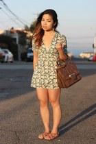 green Topshop dress - dark brown gusset satchel asos bag - brown Aldo sandals