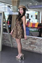 brown PERSUNMALL dress - brown sm accessories hat - gold Forever 21 heels