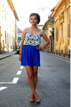 feather print New Yorker top - blue Zara skirt - nude new look sandals