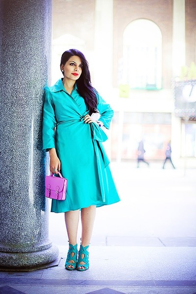 turquoise blue Max Mara dress - light purple H&M bag - turquoise blue Zara heels