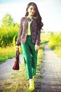 Dark-green-zara-jacket-maroon-celine-bag-yellow-rachel-roy-wedges