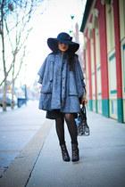 gray vintage cape - black Aldo boots - black calvin klein hat