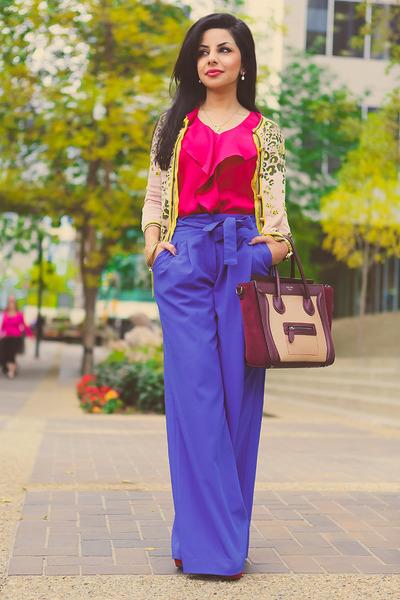 magenta Celine bag - hot pink BCBG blouse