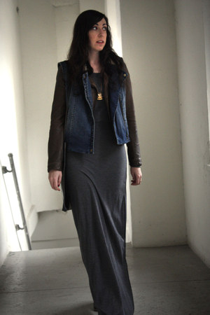 heather gray maxi asos dress - brown faux leather Zara jacket