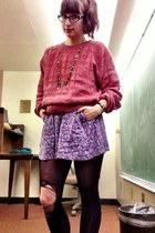 vintage sweater - tights - skirt
