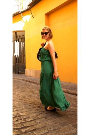 green maxi dress - black H&M bag