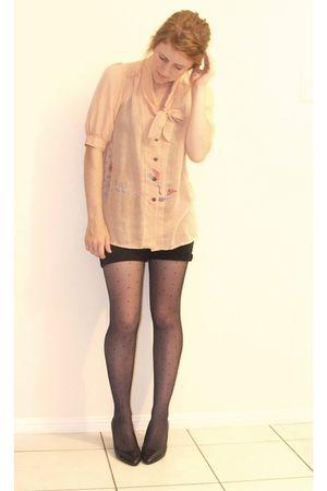pink vintage blouse - black DIY shorts - black vintage stockings - black K-mart