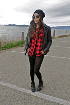 black Target boots - black Express jacket - ruby red Urban Outfitters shirt