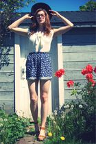 blue vintage shorts - white vintage from Deluxe Junk blouse - brown Joe Fresh sh