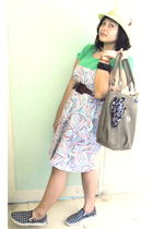 green cotton on t-shirt - brown Market purse - Everlast shoes - Market dress - F