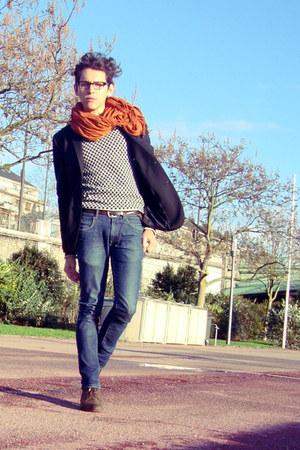 checkered Sisley cardigan - Massimo Dutti boots - Zara jeans