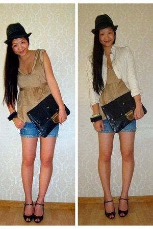 Burberry blouse - abercrombie and fitch shorts - H&M jacket - Topshop purse - Za