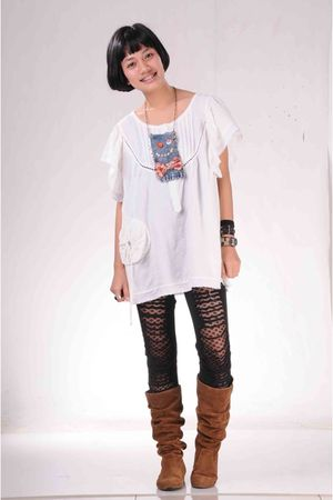 white from shenzen top - black DIY leggings - brown online shopping boots - blue