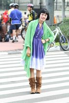 blue from shz dress - brown from online shopping blouse - green Zara jacket