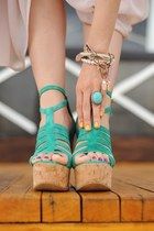 aquamarine wedges - nude accessories