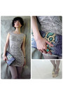 Silver-lace-short-dress-dress-violet-faux-leather-clutch-bag-bag