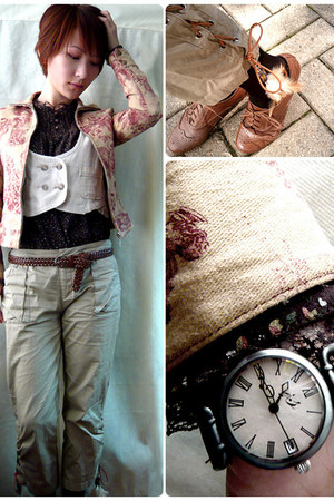 beige vintage jacket jacket - crimson MUSICAL-NOTE-WATCH watch