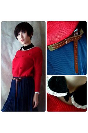red Sweater sweater - navy short skirt skirt - black Fake collar accessories