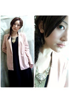 light pink boyfriend blazer blazer - black Long sleeve dress dress