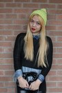 Lime-green-beanie-joe-fresh-hat-black-h-m-sweater-light-blue-levis-shirt