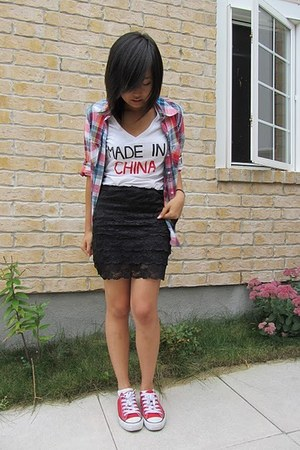 navy Bluenotes shirt - black Forever 21 skirt - white DIY t-shirt