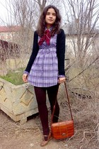 brown retro wedges - light purple dress - dark brown striped tights