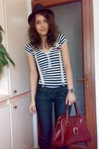 brown vintage bag - red shoes - blue rolled up jeans - black shirt - brown