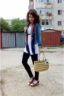 White-dress-blue-blazer-black-leggings-scarf-brown-purse