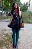 teal tights - black lace dress - ruby red scarf