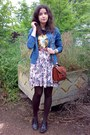 Blue-thrifted-denim-stoliver-shirt-brick-red-vintage-marc-chantal-purse-navy