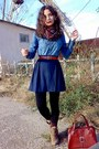 Sky-blue-soliver-shirt-navy-skirt-black-tights-burnt-orange-belt-brick-r