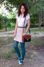 White-vero-moda-shirt-beige-pimkie-skirt-green-tights-black-belt-brown-p