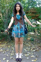 brown studded suede Atmosphere vest - turquoise blue dress - black picard purse